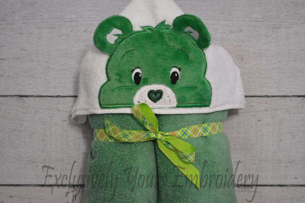 good luck bear hooded towel