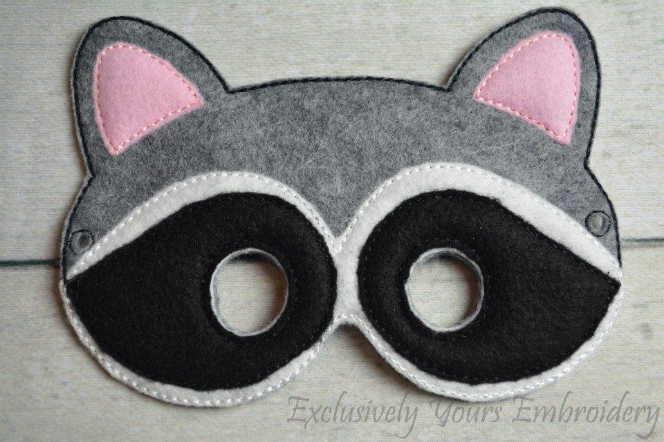 Raccoon Childrens Felt Mask - Exclusively Yours Embroidery Raccoon Eye Mask