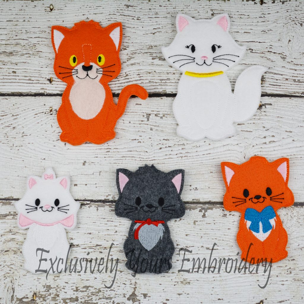 Cat Family Finger Puppet Set Exclusively Yours Embroidery