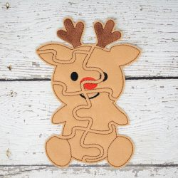 Reindeer Puzzle with Storage Pouch