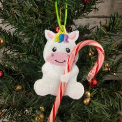 Unicorn Cane Holder Ornament