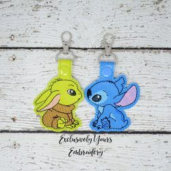 Baby Yoda and Stitch Keychain Set