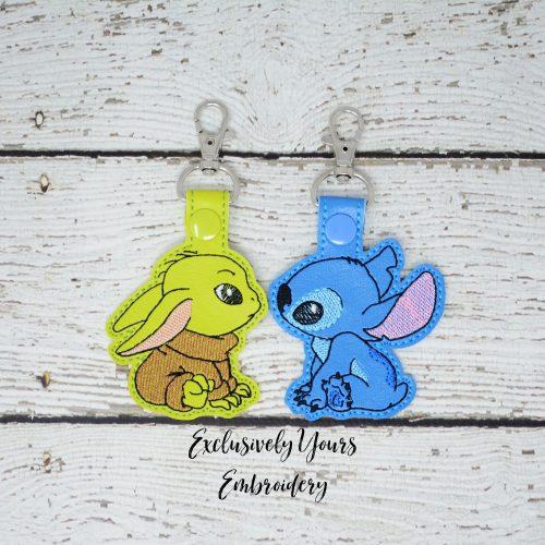 Baby Yoda and Stitch Keychain Set