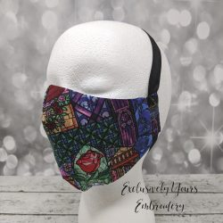 Stained Glass Beauty and the Beast Fabric Face Mask